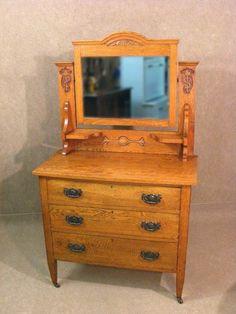 Beveled Edge Mirror, Art Nouveau Flowers, Bed Back, Standing Mirror, Antiques Online, Small Shelves, Golden Oak, Interior Exterior, Antique Art
