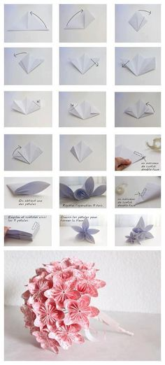Pink origami life-like flower bouquet. I definitely have to try this one day.