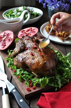 Festive Duck with Apple Cider Drizzle - minutes to prepare, no basting while roasting. Much tastier and easier than roast chicken - far lower risk of dry breast meat.