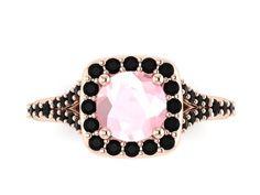 Black Diamond Morganite Ring by JewelryArtworkByVick