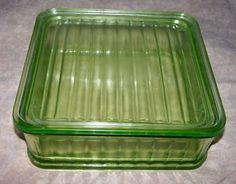 VINTAGE GREEN DEPRESSION GLASS REFRIGERATOR DISH w/ LID Completed