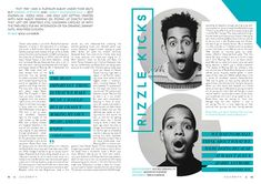 I designed a few spread layouts based on pop artist Rizzle Kicks, for Drafted magazine.Images and words credited within.