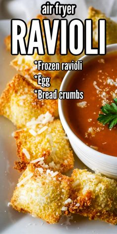 Air Fryer Ravioli - Game Day - Make these quick and easy Air fryer ravioli for the Super Bowl! These crispy bite size breaded and - Air Fryer Oven Recipes, Air Frier Recipes, Air Fryer Dinner Recipes, Appetizer Recipes, Recipes For Airfryer, Salsa Marinara, Marinara Sauce, Toasted Ravioli, Air Fried Food