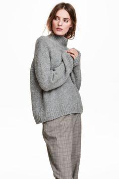 Sweter z domieszką wełny - Jasnoszary - ONA   H&M PL 1