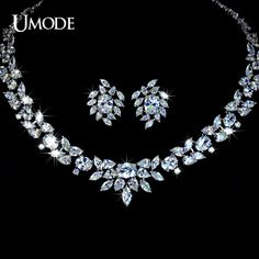 Luxury Wedding Poem of Spring Jewelry Sets White Gold Plated Top Grade CZ Necklaces Earrings Set AUS0010