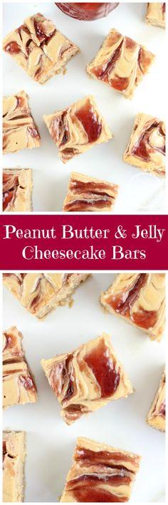 peanut butter & jelly swirl cheesecake bars pin