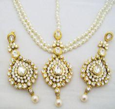 Pearl Kundan Matha Patti Set with Earrings Bridal Dulhan Headpiece Jewellery