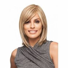 Attention Getter by Christie Brinkley is a shoulder-length page with subtle razor-cut layering in the sides and back. This wig includes softly feathered, side swept bangs for a face-framing effect. Real Hair Wigs, Short Hair Wigs, Human Hair Wigs, Plus Size Hairstyles, Messy Hairstyles, Straight Hairstyles, Short Haircuts, Hairstyle Ideas, Hair Ideas