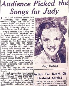 ...'born on this day in 1922, movie legend Judy Garland performed at the Theatre Royal, Dublin in 1951 for 14 sold-out shows where she performed for 50,000 people. This was extraordinary for the time. Upon arrival in Dublin, she was met by huge crowds to whom she sang from her dressing-room window. . . . #theatre #irish #ireland #instadublin #igersdublin #lovindublin #streetsofdublin #irishnostalgia #baileathacliath #1959 #gonebutnotforgotten #olddublinlandmarks #theatreroyaldublin… Room Window, Judy Garland, Dressing Room, Dublin, Theatre, Ireland, Irish, Nostalgia, Singing