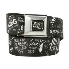 Pierce The Veil Doodles Seat Belt Belt | Hot Topic ($27) ❤ liked on Polyvore featuring accessories, belts, bands and bracelets