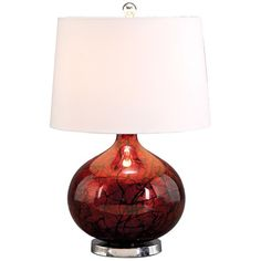 Jena Table Lamp with silver glass base, abstract designs over a dark red background & topped with a sleek white shade at Joss and Main!