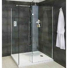 Aqata Spectra 425 Walk In Shower Corner Option. 8mm toughened clear glass, polished chrome finish, Built in wall adjustment with concealed fixings, supplied with steady bars, dedicated shower tray available.