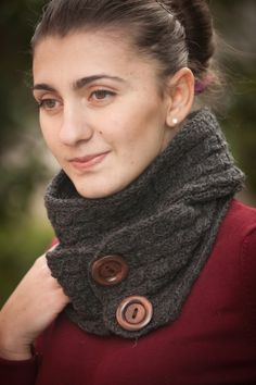 Charcoal Wool Cable Knit Boyfriend Scarf with Buttons