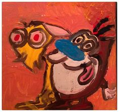REN & STIMPY cartoon portrait 6 x 6 inch acrylic on gallery wrapped canvas artist Gregory McLaughlin $30.00 plus shipping original master painting purchase direct from artist via Paypal at whateverway@comcast.net