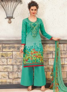 Buy salwar kameez online from an endless collection of designer salwar kameez online. Buy this delightful cotton designer palazzo suit for festival and party.