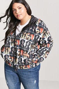 ef2a3f4c2dc83 Plus Size Bob Marley Woven Hooded Windbreaker Jacket Plus Size Windbreaker