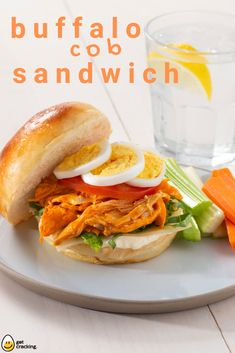 Sandwich meets salad with this Buffalo Chicken Cobb Sandwich! It really is the best of both worlds. Cooking Chicken To Shred, How To Cook Chicken, Egg Recipes, Cooking Recipes, Breakfast Picnic, Buffalo Chicken Wraps, Vegetarian Options, Wrap Sandwiches, Clean Eating Snacks