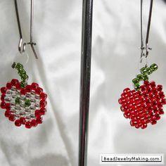 bead earrings, seed beads, appl earring