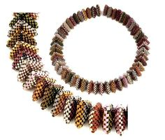 All Angles Necklace Pattern by Jean Power Beaded Necklace Patterns, Geometric Necklace, Geometric Jewelry, Beaded Jewelry, Beaded Bracelets, Beaded Bead, Beading Techniques, Beading Tutorials, Beading Patterns