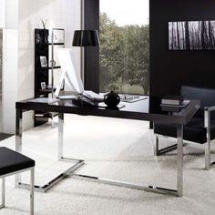 #Lime Mesa rectangular de diseño, moderna y elegante, con estructura de acero inoxidable brillo de perfil cuadrado de 40 x 40 mm y tablero de madera lacada en negro o cristal transparente. Producto exclusivo y de alta calidad.