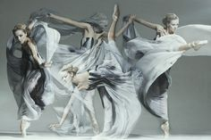 Beautiful ballet poses and wonderful fabric manipulation.