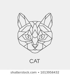 Linear polygon animal of the feline family. Bubble Drawing, Cat Drawing, Chat Origami, Geometric Cat Tattoo, Polygon Art, Bulletins, Geometry Art, Sketch Inspiration, Cat Art