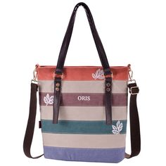 Women Canvas Striped Tote Handbag Casual Shoulder Bags Capacity Shopping Crossbody Bags  Worldwide delivery. Original best quality product for 70% of it's real price. Hurry up, buying it is extra profitable, because we have good production sources. 1 day products dispatch from...