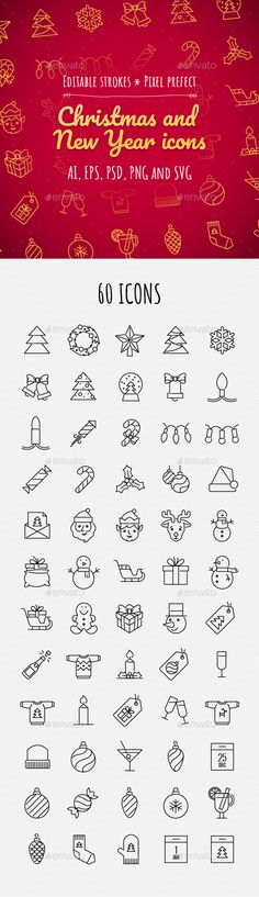 60 Christmas and New year icons