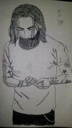 Art Drawing Man Beard Tattoo