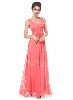 Bridesmaid Dresses - $118.07 - A-Line/Princess V-neck Floor-Length Chiffon Bridesmaid Dress With Ruffle (0075058375)