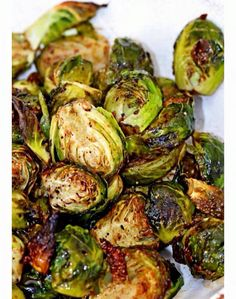 Crispy Balsamic Honey Brussels -   Preheat oven to 425. Line baking sheet with foil. Cut in Half 1 1/2 lbs of Brussels  - toss in a bowl with a tbsp of evoo and sprinkle with S&P. Roast for 20 min. Remove from oven and place back in bowl - toss well with 2 tbsp evoo, 2 tbsp balsamic vinegar & 2 tbsp honey. Coat evenly and enjoy.