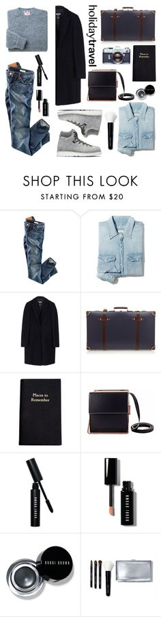 """""""Travel in Style, Holiday Edition"""" by helenevlacho ❤ liked on Polyvore featuring H&M, Madewell, Diemme, MSGM, Globe-Trotter, Leathersmith, Lautēm, Bobbi Brown Cosmetics, travelstyle and contestentry"""