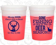 30th Birthday Mood Cups, Fishing Birthday, Hunting Birthday, Deer Birthday, Birthday Color Changing Cups (20129)