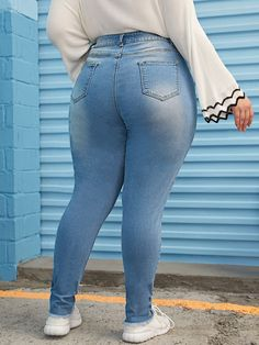 Plus Ripped Raw Hem Skinny Jeans , Superenge Jeans, Sexy Jeans, Blue Fashion, Skinny Fashion, Plus Size Jeans, Colored Denim, Ripped Skinny Jeans, Girls Jeans, Plus Size Dresses