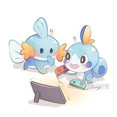 Mudkip y Sobble Pokemon Pins, Pokemon Images, Pokemon Comics, All Pokemon, Pokemon Fan Art, Pokemon Pictures, Cute Pokemon, Pokemon Agua, Chibi