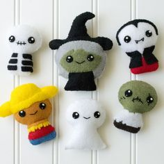 Adorblings™ Felt Embroidery Pattern - Trick or Treat 1 - Ghost, Zombie, Vampire…