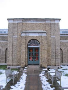 Dulwich Picture Gallery entrance in snow