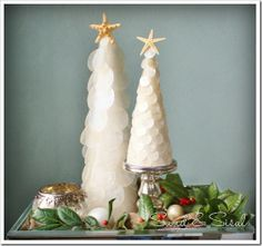 Capiz Shell Christmas Trees by Sand & Sisal