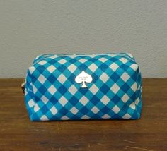 AUTHENTIC Kate Spade Turquoise and White Plaid Cosmetic Bag - $60