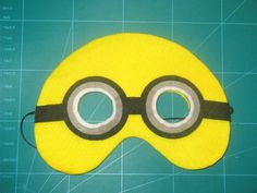 Handmade, Felt Minion inspired play mask with elastic strap by PennyPopps