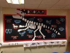 Dinosaur display - next year maybe. Class Displays, School Displays, Library Displays, Classroom Displays, Dinosaur Projects, Dinosaur Crafts, Dinosaur Party, Dinosaurs Preschool, Dinosaur Activities