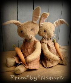 Primitive Rabbit Dolls Cute Pair of Tan Folk Art Rabbits in Jumpers with Carrots