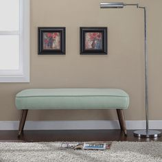 This beautiful bonded leather bench offers mid-century modern styling. The metal foot caps and big button tufts seal the deal on this retro bench. This bench features slid wood legs with metal caps, upholstered in a retro aqua colored bonded leather. Furniture Deals, Tufted Bench, Furniture, Bedroom Green, Retro Bench, Living Room Furniture Store, Mid Century Bench, Cozy House, Home Decor