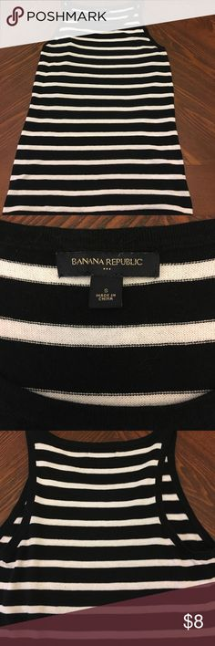 Racer Back Style Tank Banana Republic Factory Knit Racer Back Style Tank, Black/White Stripe, Size S, Fitted Style.  Worn, still in Good Condition!  Slight Fading at Strap noted in picture. Banana Republic Tops Tank Tops