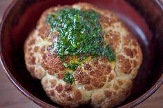 Roasted Cauliflower with Herb Sauce (cauliflower, oregano, sage, thyme, parsley, lemon juice, olive oil)