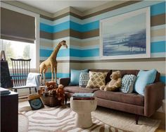 Colorful Living Room Ideas For Decorations In 2014 With Sweet Brown Fabric Sofa Furniture That Have Cute Pillows And Amazing Line Pattern Blue And White : Adorable Samples of Cute Living Room Ideas With Brown Furniture : Inspiring Images for Designing or Remodeling Small Living Room