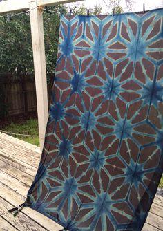 Panacea Textile illuminated Indigo panel fresh from the indigo vat. PanaceaTextile.etsy.com