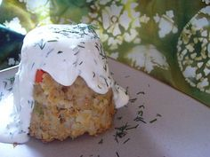 Salmon and Rice Timbales with Creamy Dill Sauce