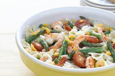 http://www.kraftrecipes.com/recipes/lemon-shrimp-pasta-salad-105216.aspx      Love this...so light and summery!