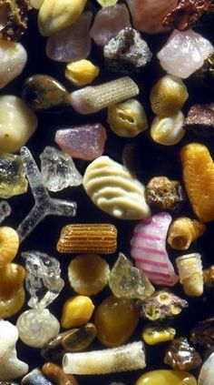 This is what sand looks like when magnified 100 to 300 times.